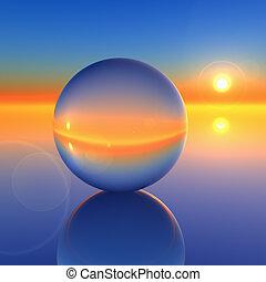Abstrae la bola de cristal en el futuro horizonte