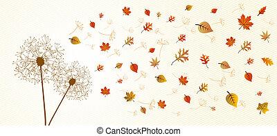 Abstrae la composición de otoño. Dandelion con hojas voladoras y pétalos de flores ilustraciones de fondo. El archivo de vector EPS10 organizado en capas para la edición fácil.