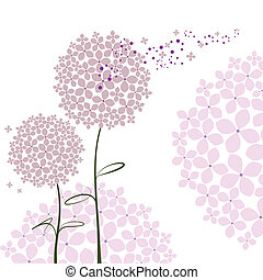 Abstrae la flor de la hortensia púrpura primaveral