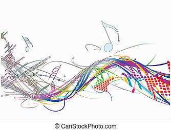 Abstrae la línea de ondas musicales