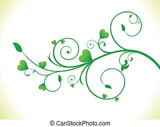 Abstrae la planta verde del corazón