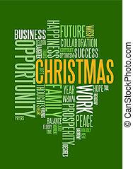 Abstrae la tarjeta de Navidad con palabras de temporada