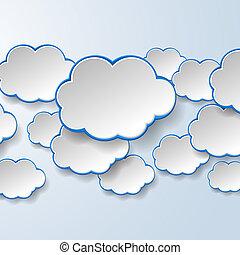 Abstrae los discursos de papel blanco sobre fondo azul claro. El concepto de servicios de nubes. Ilustración de vector eps10
