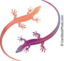 Abstrae los lagartos decorativos