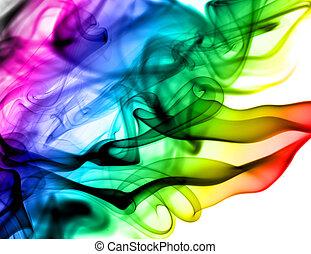 Abstrae patrones coloridos de humo en blanco
