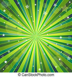 Abstrae un fondo verde y amarillo con rayos