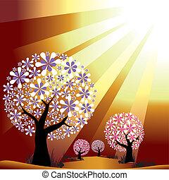 Abstraer árboles en el fondo de la luz dorada