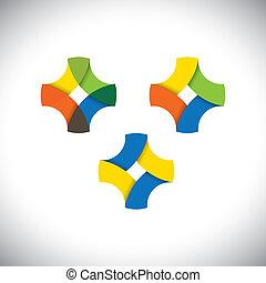 Abstraer ícono de bucle infinito hecho de cintas coloridas - vector