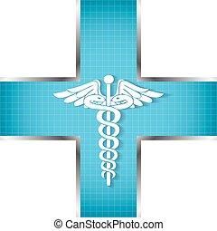 Abstraer antecedentes médicos con el símbolo médico caduceo.