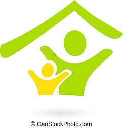 Abstraer bienes raíces, familia o icono de caridad aislado en blanco