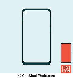 Abstraer el ícono de smartphone moderno. Fotografía móvil simple diseño vectorial plano