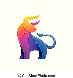 Abstraer el color toro de diseño completo de la plantilla vectorial de ilustración