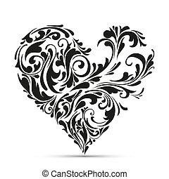Abstraer el corazón floral. Concepto de amor