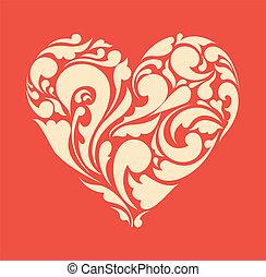 Abstraer el corazón floral. El concepto del amor. Afiche de retro