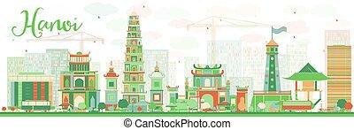 Abstraer el horizonte Hanoi con puntos de color.