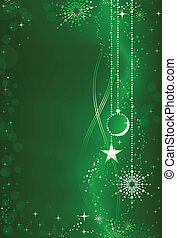 Abstraer el pasado de Navidad verde con adornos y adornos