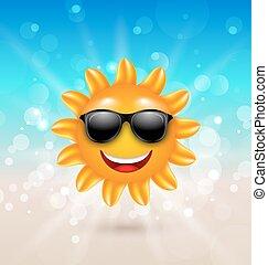 Abstraer el pasado de verano con alegre sol de verano en gafas de sol