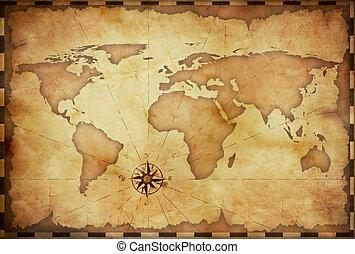 Abstraer el viejo mapa del mundo grunge