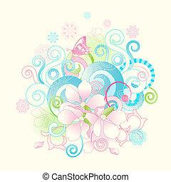 Abstraer flores primaverales y pergaminos