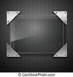 Abstraer fondo de metal con marco de vidrio. Ilustración del vector.