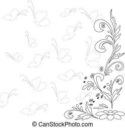 Abstraer fondo floral, contorno