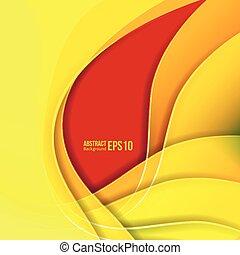 Abstraer la luz amarilla vector de fondo. Forma una transición suave y olas.