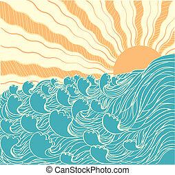 Abstraer las olas del mar. Ilustración del vector del paisaje marino con su