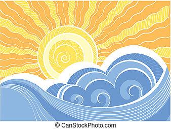 Abstraer las olas del mar. Ilustración del vector del paisaje marino