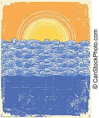 Abstraer las olas del mar. Ilustración del vector del paisaje marino. Imagen grunge