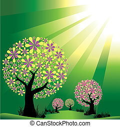 Abstraer los árboles en el fondo de la luz verde