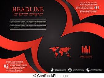 Abstraer los antecedentes corporativos de ondas rojas y negras