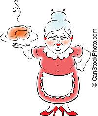 abuela, cocinado, mi, cena.