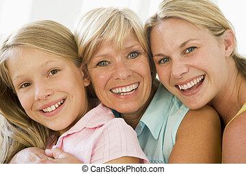 Abuela con hija adulta y nieta