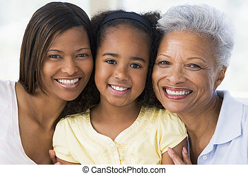 Abuela con hija adulta y nieto