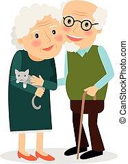 abuela, grandfather., viejo, pareja.