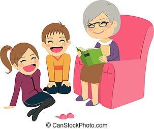 abuela, historia, lectura