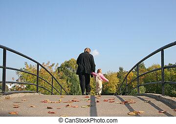 abuela, puente, atrás, otoño, bebé