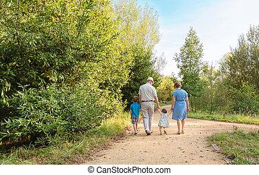 abuelos, ambulante, nietos, aire libre
