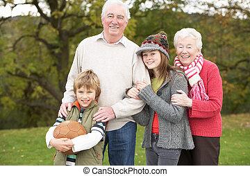 abuelos, exterior, fútbol, tenencia, nietos
