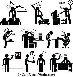abusar, empleado, enojado, jefe