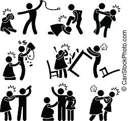 abusivo, novio, marido, pictogram