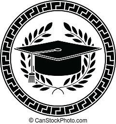 académico, cap., cuadrado, plantilla