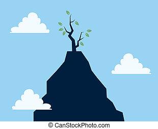 acantilado, árbol