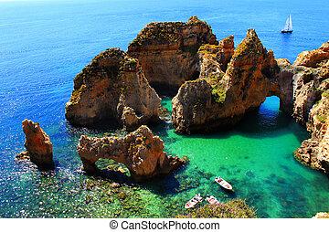 acantilados, algarve, portugal, costa