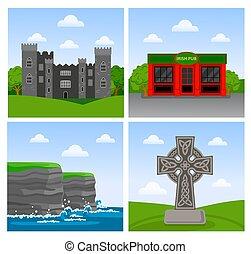 Acantilados de Moher, castillo de Malahide, pub irlandés, cruz celta.