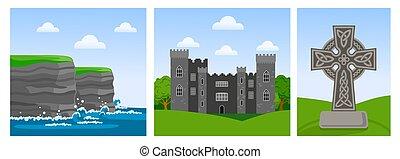 Acantilados de moher en la arcilla del condado, castillo de Malahide, cruz celta.