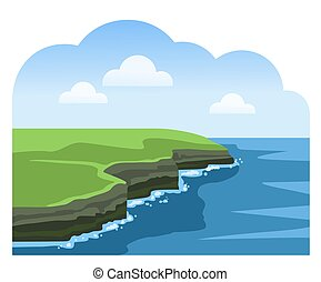 acantilados, viaje, vista., mar, attraction., escénico, ireland., irlandés, moher.