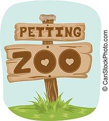 Acariciando el cartel del zoológico