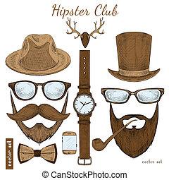 Accesorios del club de hipsters antiguos