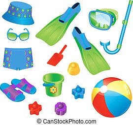 accesorios, playa, niño